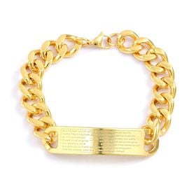 ID Curb Chain Bracelet (Size 9) in Stainless Steel Gold Plated