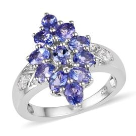 2.25 Ct Tanzanite and Cambodian Zircon Cluster Ring in Platinum Plated Sterling Silver