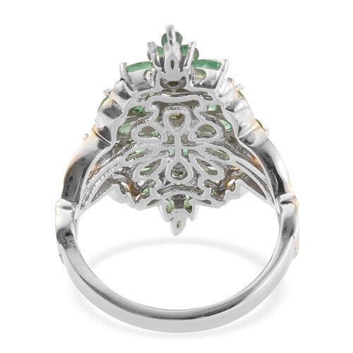 3 Carat Kagem Zambian Emerald Cluster Ring In Platinum And