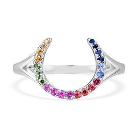 RACHEL GALLEY - Rainbow Sapphire Horseshoe Ring in Rhodium Overlay Sterling Silver