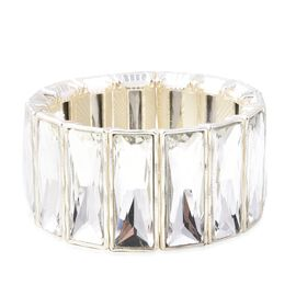 Designer Inspired- Simulated Diamond Stretchable Wide Bracelet (Size 6.5) in Silver Plated