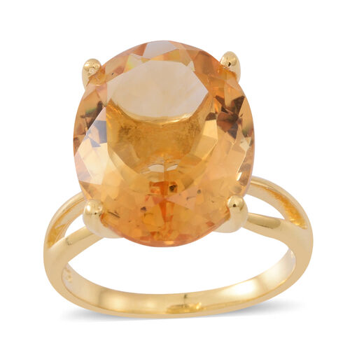 Very Rare Size Uruguay Citrine (Ovl 20X15) Ring in Yellow Gold Overlay Sterling Silver 17.000 Ct.