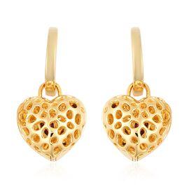 RACHEL GALLEY Rhodolite Garnet (Hrt) Lattice Heart Earrings (with Clasp) in Yellow Gold Overlay Ster
