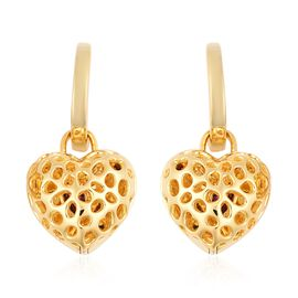 Rachel Galley 0.65 Ct Rhodolite Garnet Heart Earrings in Gold Plated Sterling Silver 10.03 Grams