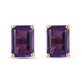 Amethyst Stud Earrings (with Push Back) in 14K Gold Overlay Sterling Silver 1.960 Ct.
