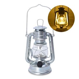 Silver - Vintage LED Hurricane Lantern with Dimmer Switch (Size 19 Cm) (4xAA  Battery not Included)