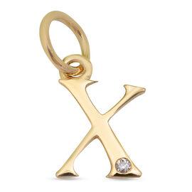 9K Yellow Gold Diamond Initial X Pendant