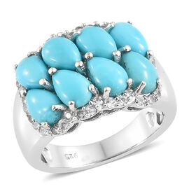 AA  Arizona Sleeping Beauty Turquoise (Pear), Natural White Cambodian Zircon Ring in Platinum Overla