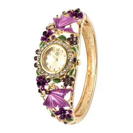 STRADA Japanese Movement Purple and White Austrian Crystal Floral Pattern Bangle Watch Size 6.5 in Gold Tone