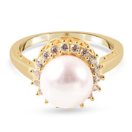 White Edison Pearl and Natural Cambodian Zircon Ring or Pendant in Yellow Gold Overlay Sterling Silv