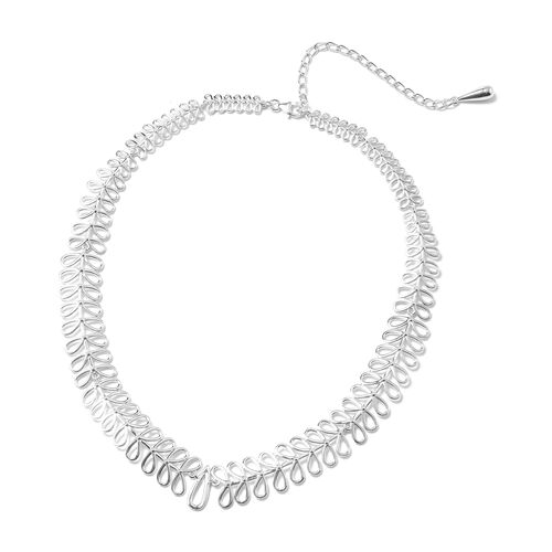LucyQ Collar Necklace in Rhodium Plated Sterling Silver 38.02 Grams 16 with 4 inch Extender
