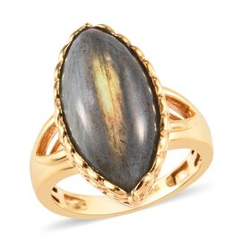 8.75 Ct Natural Bokonaky Fire Labradorite Solitaire Ring in Gold Plated Sterling Silver