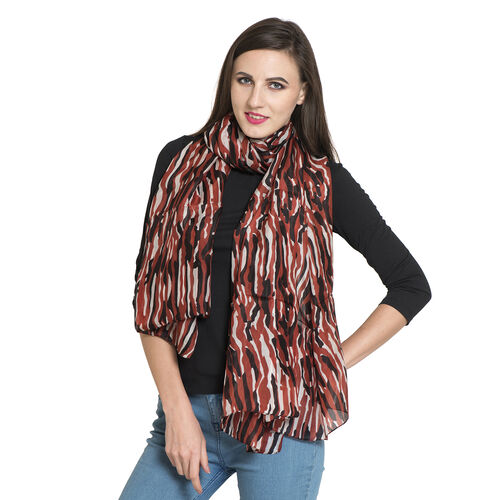 100% Mulberry Silk Red, Black and Cream Colour Printed Scarf (Size 180x100 Cm)