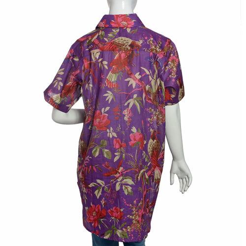 100% Cotton Purple and Multi Colour Flower, Leaves and Bird Pattern Apparel (Size 77x60 Cm)