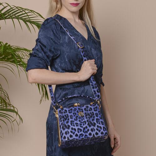 BOUTIQUE COLLECTION Leopard Pattern Shoulder Bag with Detachable and Adjustable Strap (Size 22x14x18 Cm) - Navy