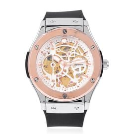 GENOA  Automatic Skeleton Water Resistant Pink Austrian Crystal Studded Watch with Black Strap