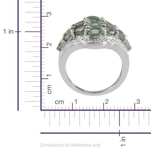 Orissa Green Kyanite (Ovl), Diamond Cluster Ring in Platinum Overlay Sterling Silver 5.00 Ct.