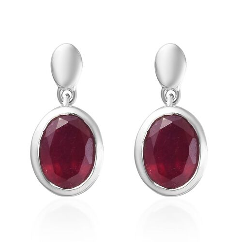 AA African Ruby Drop Earrings (with Push Back) in Platinum Overlay Sterling Silver 3.36 Ct.