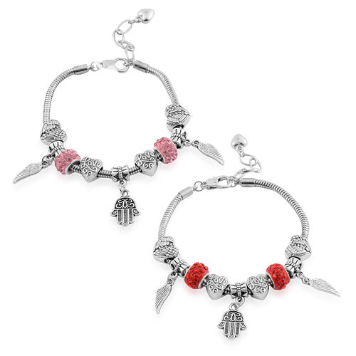 Set of 2 - Red and Pink Austrian Crystal Bracelet (Size 7.5 with 1.5 Inch Extender ) with Charm in Silver Bond