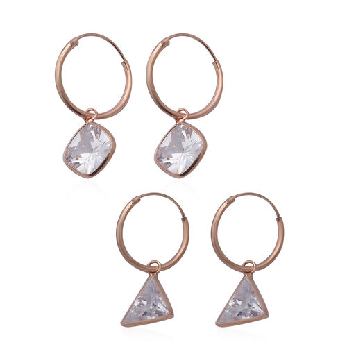 ELANZA - Set of 2 Simulated Diamond Hoop Earrings in Rose Gold Overlay Sterling Silver