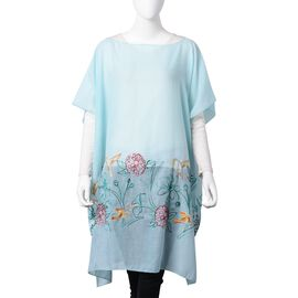 Sky Blue, Red, Yellow and Green Embroidered Flower and Bird Pattern Poncho (Size 90x90 Cm)
