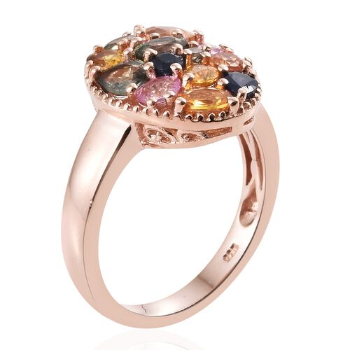 Rainbow Sapphire Cluster Ring in Rose Gold Overlay Sterling Silver 3.000 Ct. Silver wt 5.00 Gms.