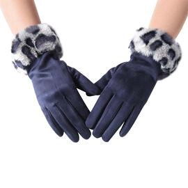 Faux Fur Leopard Print Trim Gloves (Size 9x23cm) - Navy and Grey