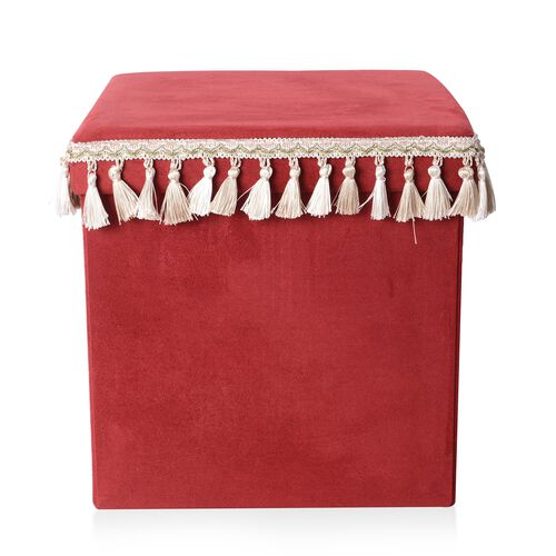 Premium Collection Red Colour with White and Beige Tassels Foldable Storage box with Fringe Square (Size 38x38 Cm)