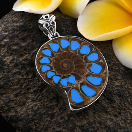 Royal Bali Collection Ammonite and Simulated Turquoise Bead Enamelled Pendant in Sterling Silver