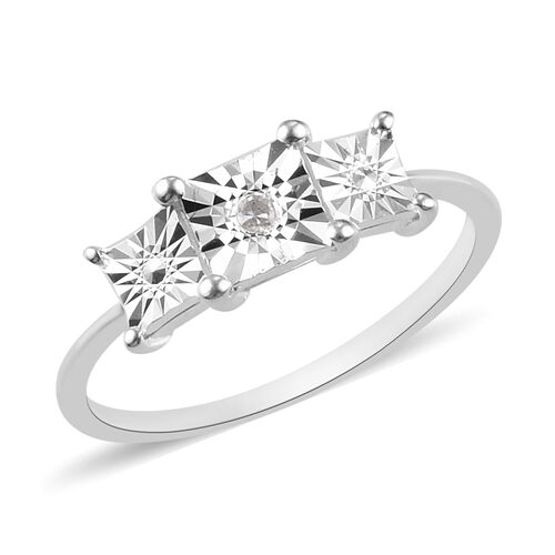 Diamond Trilogy Ring in Sterling Silver