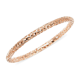 RACHEL GALLEY Rose Gold Overlay Sterling Silver Allegro Bangle (Size 7.5), Silver wt 16.30 Gms