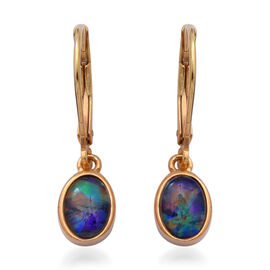 Boulder Opal Lever Back Drop Earrings in Yellow Gold Overlay Sterling Silver