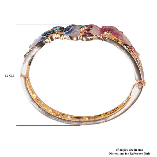 Multicolour Austrian Crystal (Rnd) Butterfly Enamelled Bangle (Size 6.5) in Yellow Gold Plated