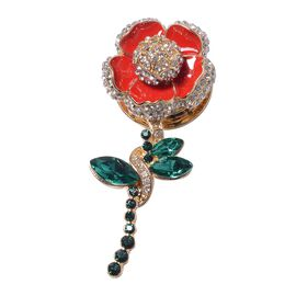 TJC Poppy Design Simulated Emerald (Mrq), White and Green Austrain Crystal Enamelled Poppy Flower Ma