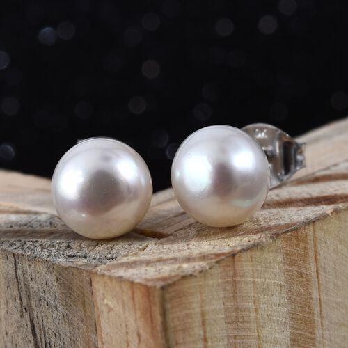 Fresh Water Pearl (6.00 Ct) 9K W Gold Earring  7.200  Ct.