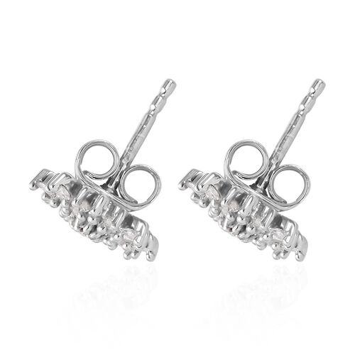 Diamond (Rnd and Bgt) Snow Flake Earrings (with Push Black) in Platinum Overlay Sterling Silver 0.33 Ct.