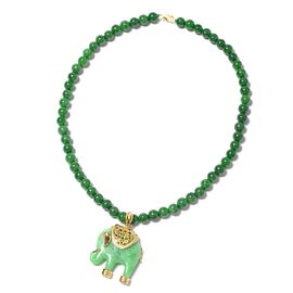 Carved Green Jade, Multi Gemstone Elephant Necklace (Size 18) Yellow Gold Overlay Sterling Silver 16