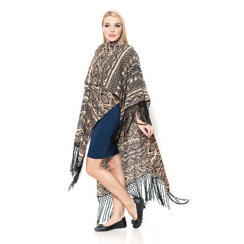 Geometrical Print Beige and Black Colour Kimono with Tassels (Size 110x90 Cm)