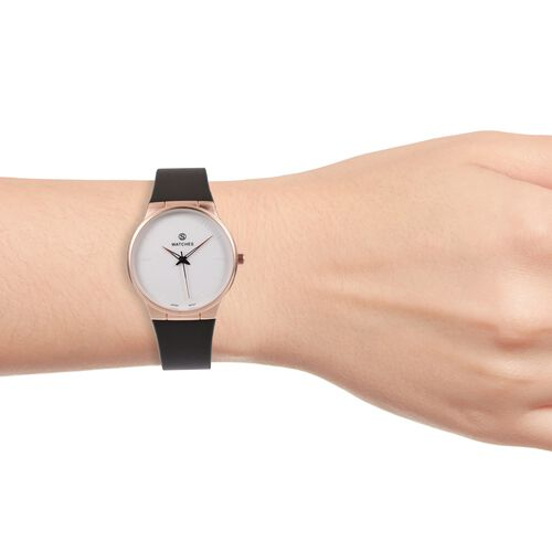 STRADA  Japanese Movement Rose Gold Plated Water Resistant Watch with Blackish Taupe Colour Strap