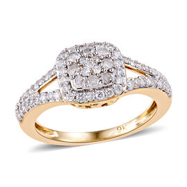 9K Yellow Gold SGL Certified Diamond (Rnd) (I3 / G-H) Ring 0.50 Ct.