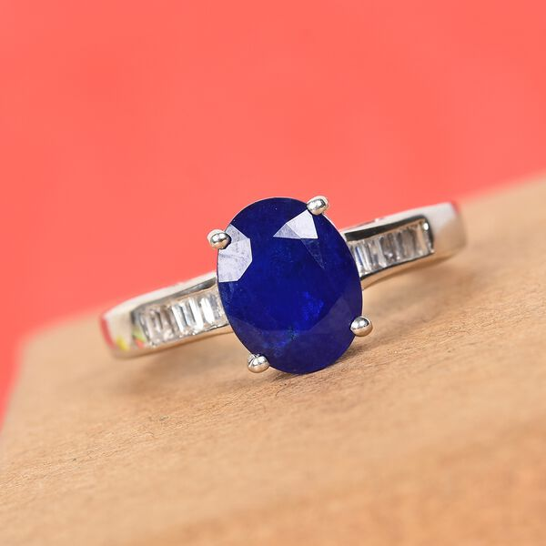 Tanzanian Blue Spinel and Natural Cambodian Zircon Ring in Platinum Overlay Sterling Silver 2.50 Ct.