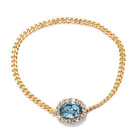 J Francis Aquamarine Colour Crystal and White Crystal from Swarovski Brooch in Gold Plated 7.5 Inch