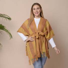 Mustard Striped Shawl Wrap with Waist Belt (Size 84x66+10cm)