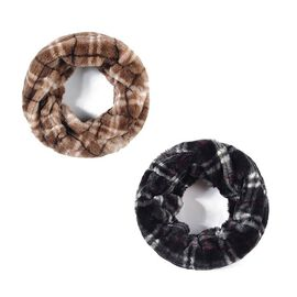 Set of 2 Faux Fur Twisted Snood Scarves - Black Check/Tan Check