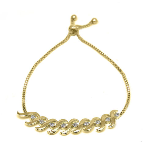 New York Close Out Deal - Diamond (Rnd) Bracelet (Size 6.5 to 8.5) in Gold Plated