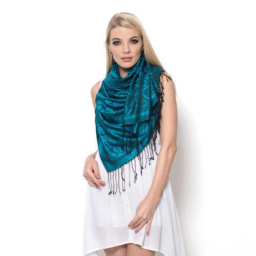 100% Superfine Silk Green and Black Colour Floral Pattern Jacquard Jamawar Shawl with Fringes (Size