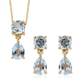 Sky Blue Topaz (6.50 Ct) 14K Gold Overlay 14K Gold Overlay Sterling Silver 2 Pcs Earring and Pendant
