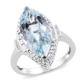 14K White Gold AAA Espirito Santo Aquamarine (Mrq), Diamond Ring 4.750  Ct.
