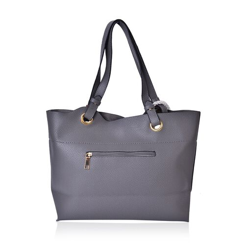 Grey Colour Tote Bag with Rope (Size 42X33X27X11 Cm)