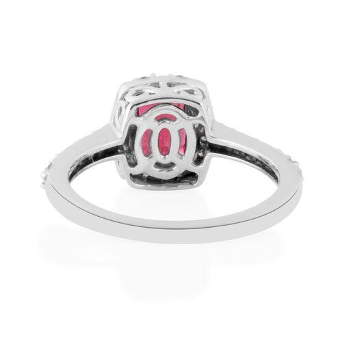 RHAPSODY 950 Platinum AAAA Ouro Fino Rubelite (Cush 1.40 Ct), Diamond (VS/E-F) Ring 1.750 Ct.
